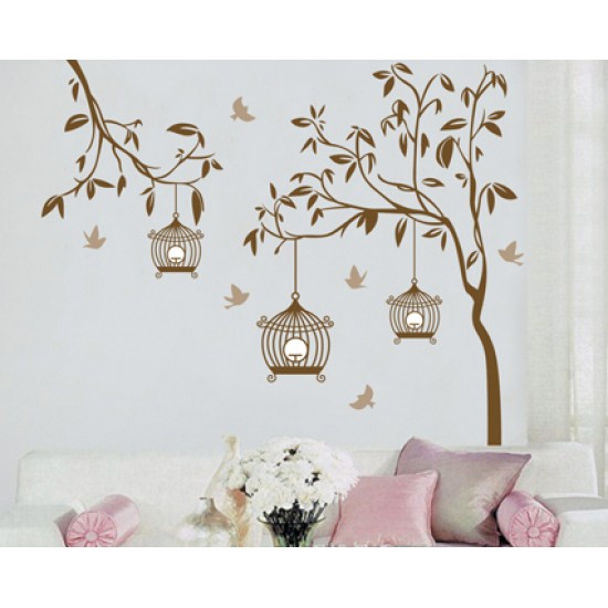 Birdcages Hanging on the Branches Giant Wall Decals